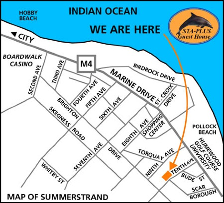 Map Summerstrand Port Elizabeth Strassenkarte